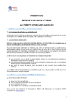 INFORMATION MEDAILLES DE LA FAMILLE